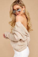 4 All Shook Up Beige Sweater at reddressboutique.com