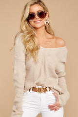5 All Shook Up Beige Sweater at reddressboutique.com