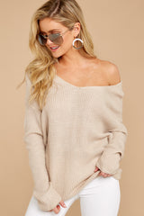 6 All Shook Up Beige Sweater at reddressboutique.com