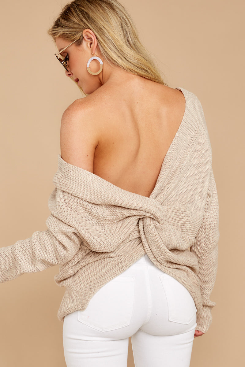 7 All Shook Up Beige Sweater at reddressboutique.com