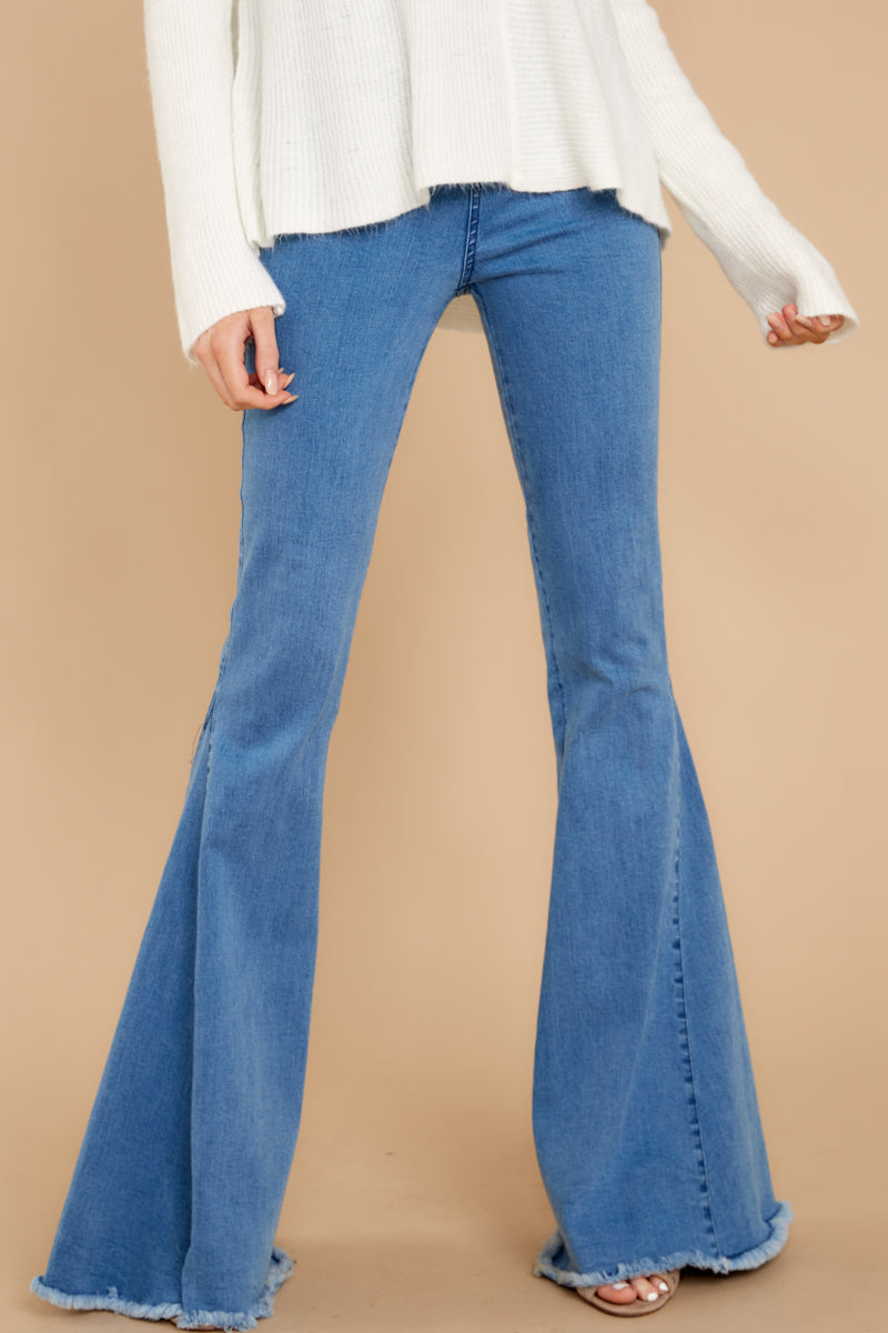 Hippie Pants, Jeans, Bell Bottoms, Palazzo, Yoga Diggin These Medium Wash Flare Jeans Blue $62.00 AT vintagedancer.com