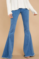 Diggin' These Medium Wash Flare Jeans at reddressboutique.com