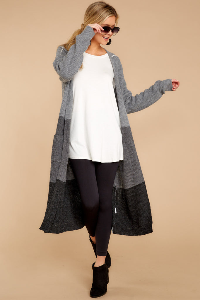 1 Cafe Cutie Light Grey Multi Cardigan at reddressboutique.com