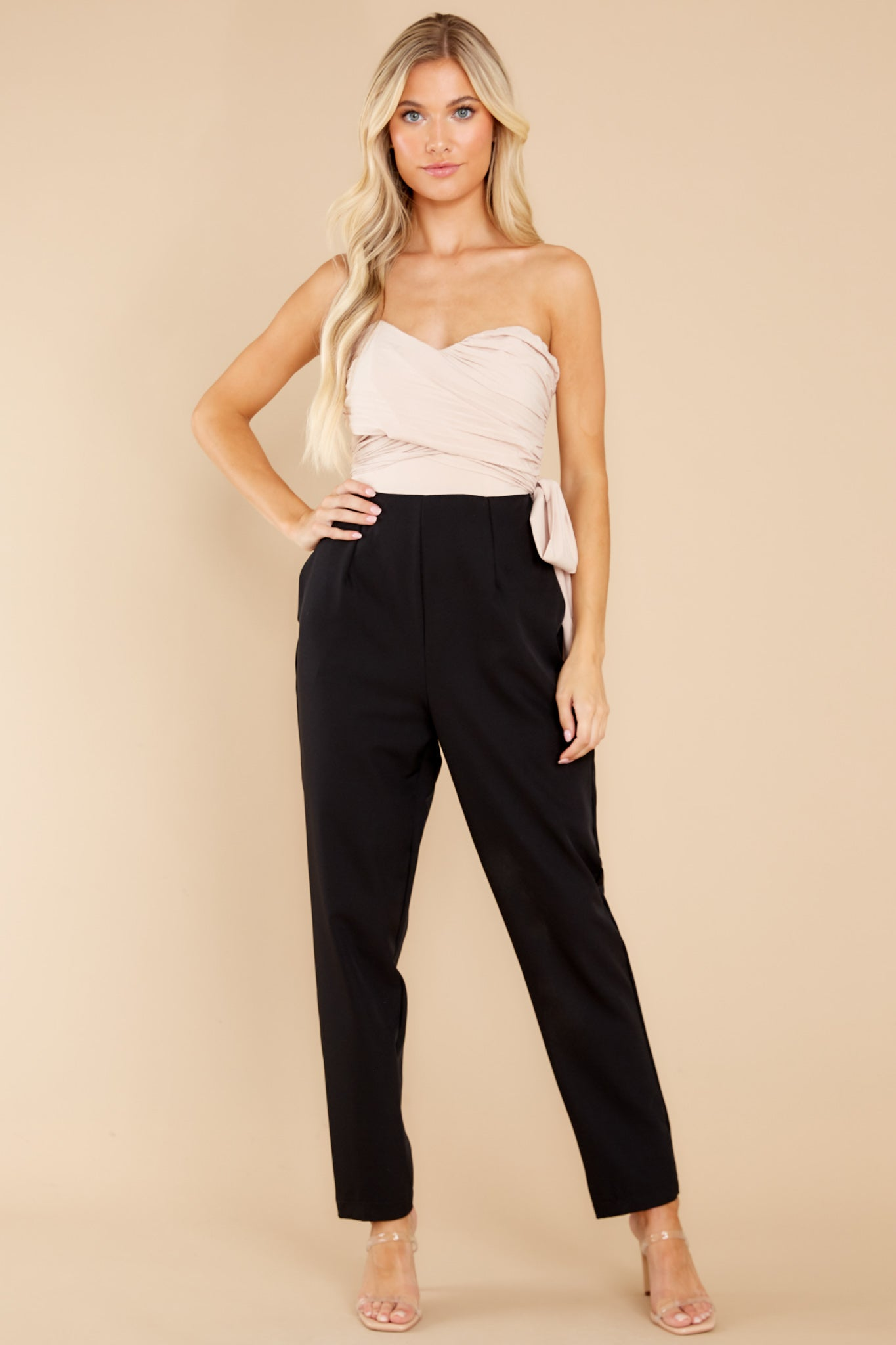 1980s Clothing, Fashion | 80s Style Clothes Under Our Star Black And Beige Jumpsuit $54.00 AT vintagedancer.com
