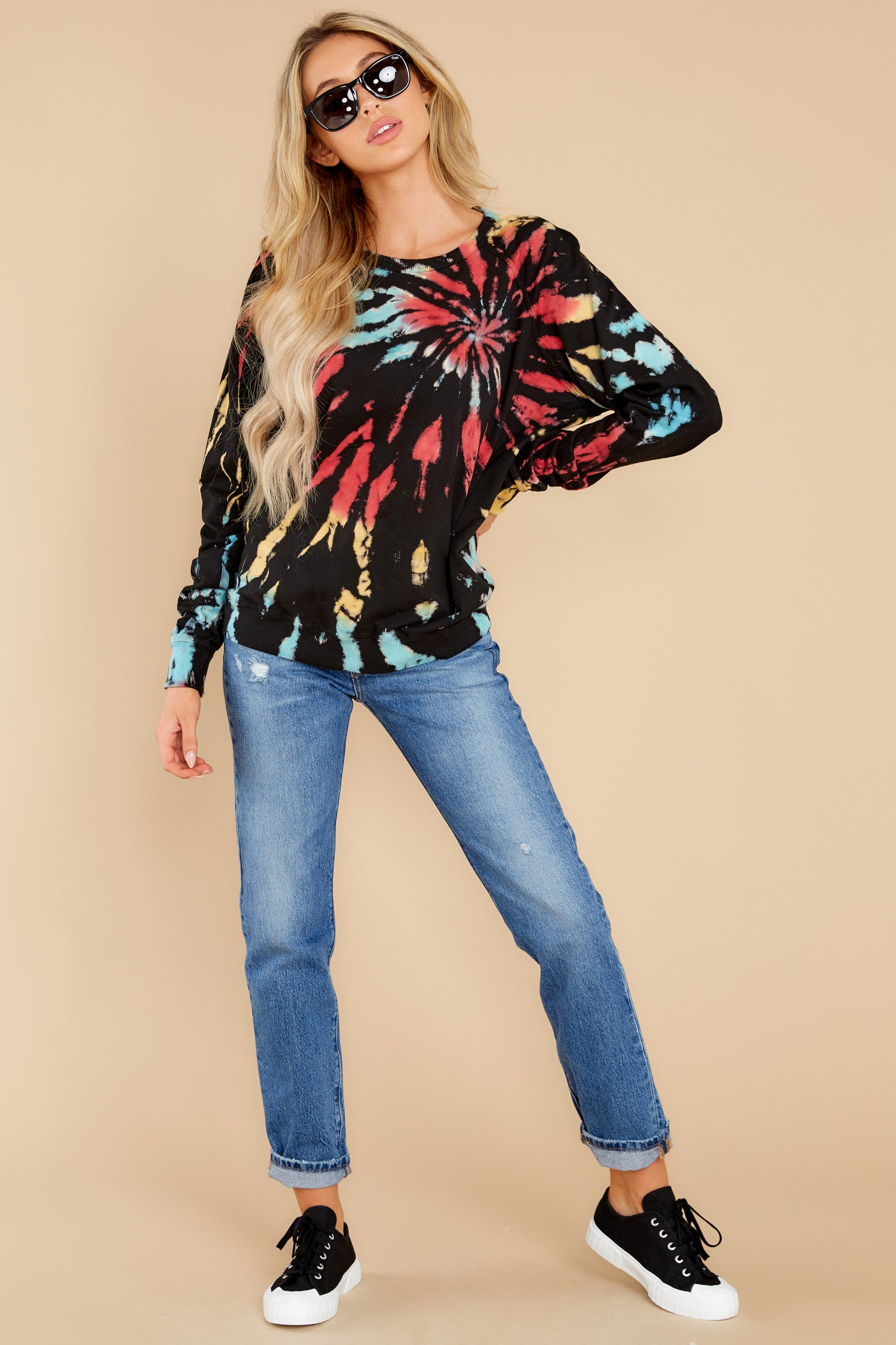 3 Step On Up Black And Red Multi Tie Dye Pullover at reddress.com