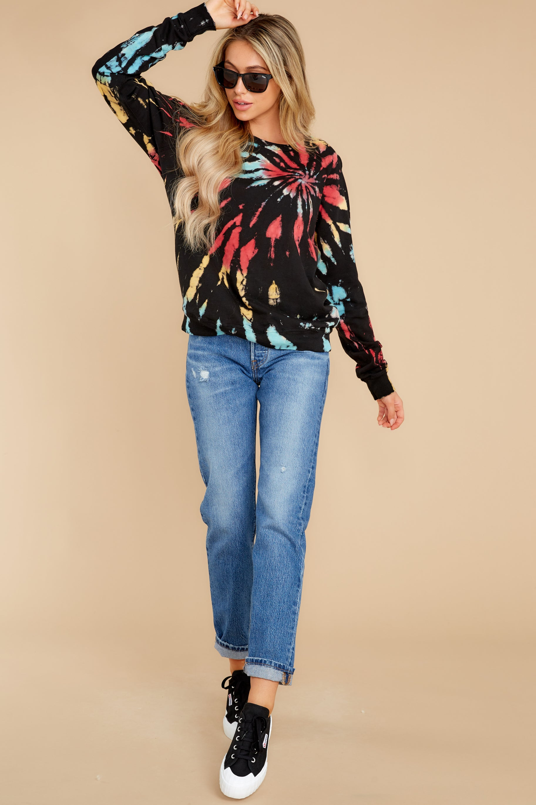 4 Step On Up Black And Red Multi Tie Dye Pullover at reddress.com