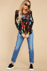 1 Step On Up Black And Red Multi Tie Dye Pullover at reddress.com