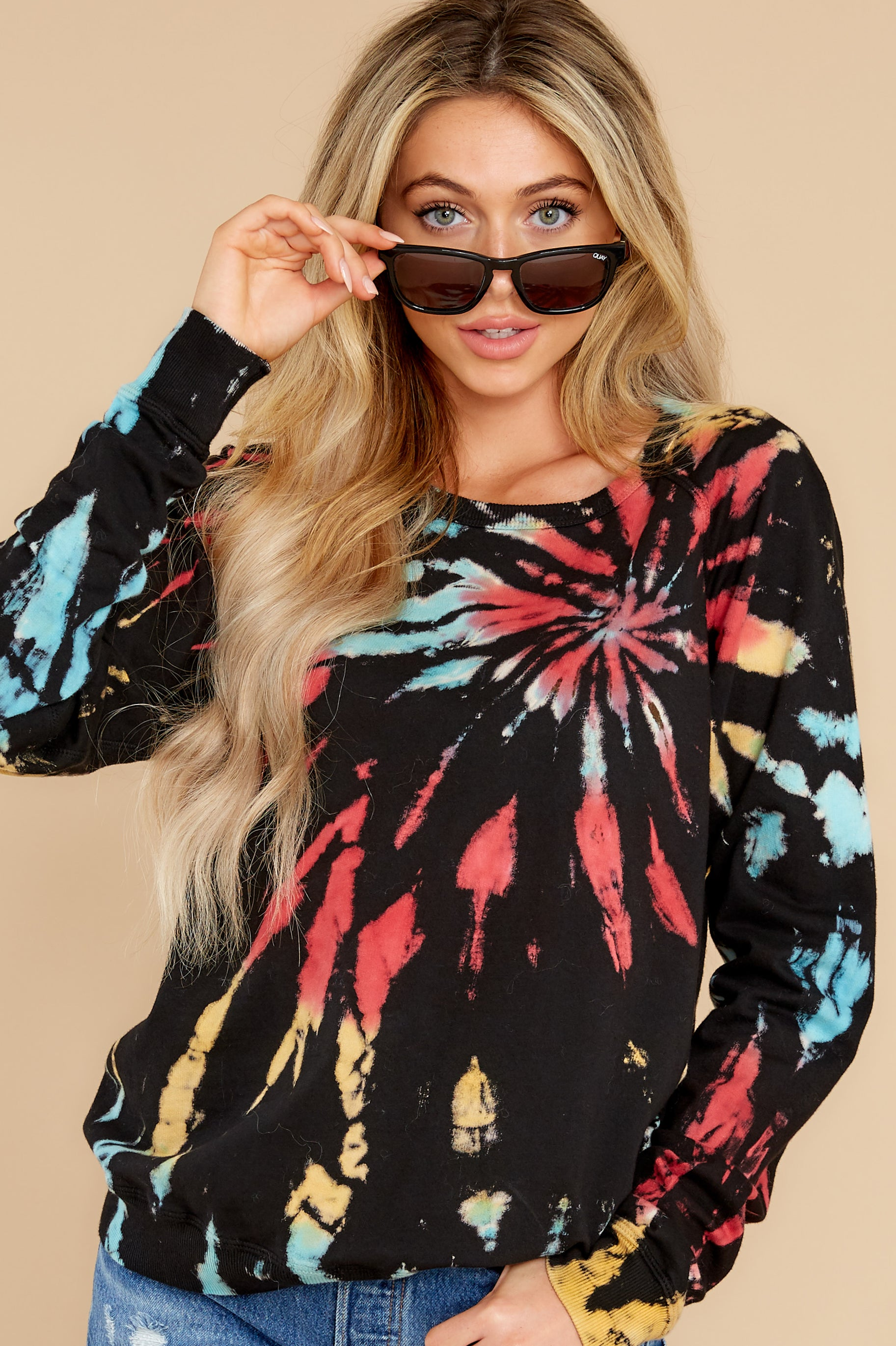 5 Step On Up Black And Red Multi Tie Dye Pullover at reddress.com