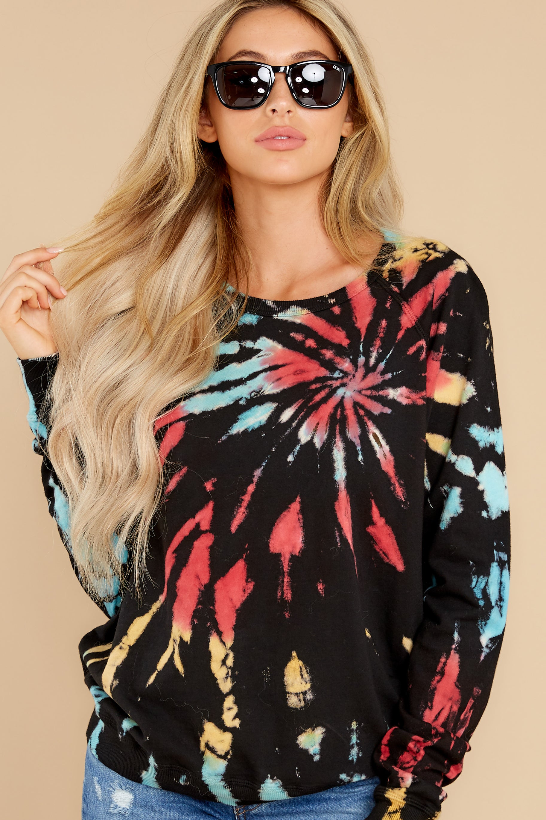 6 Step On Up Black And Red Multi Tie Dye Pullover at reddress.com