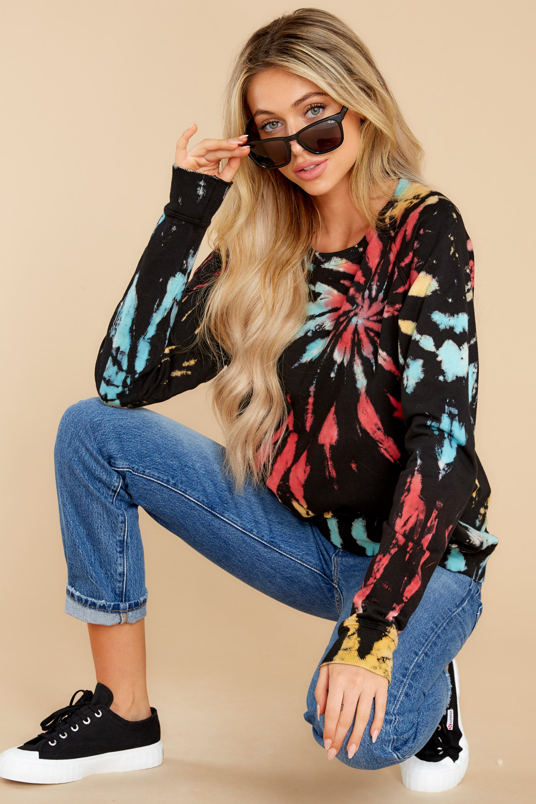 2 Step On Up Black And Red Multi Tie Dye Pullover at reddress.com