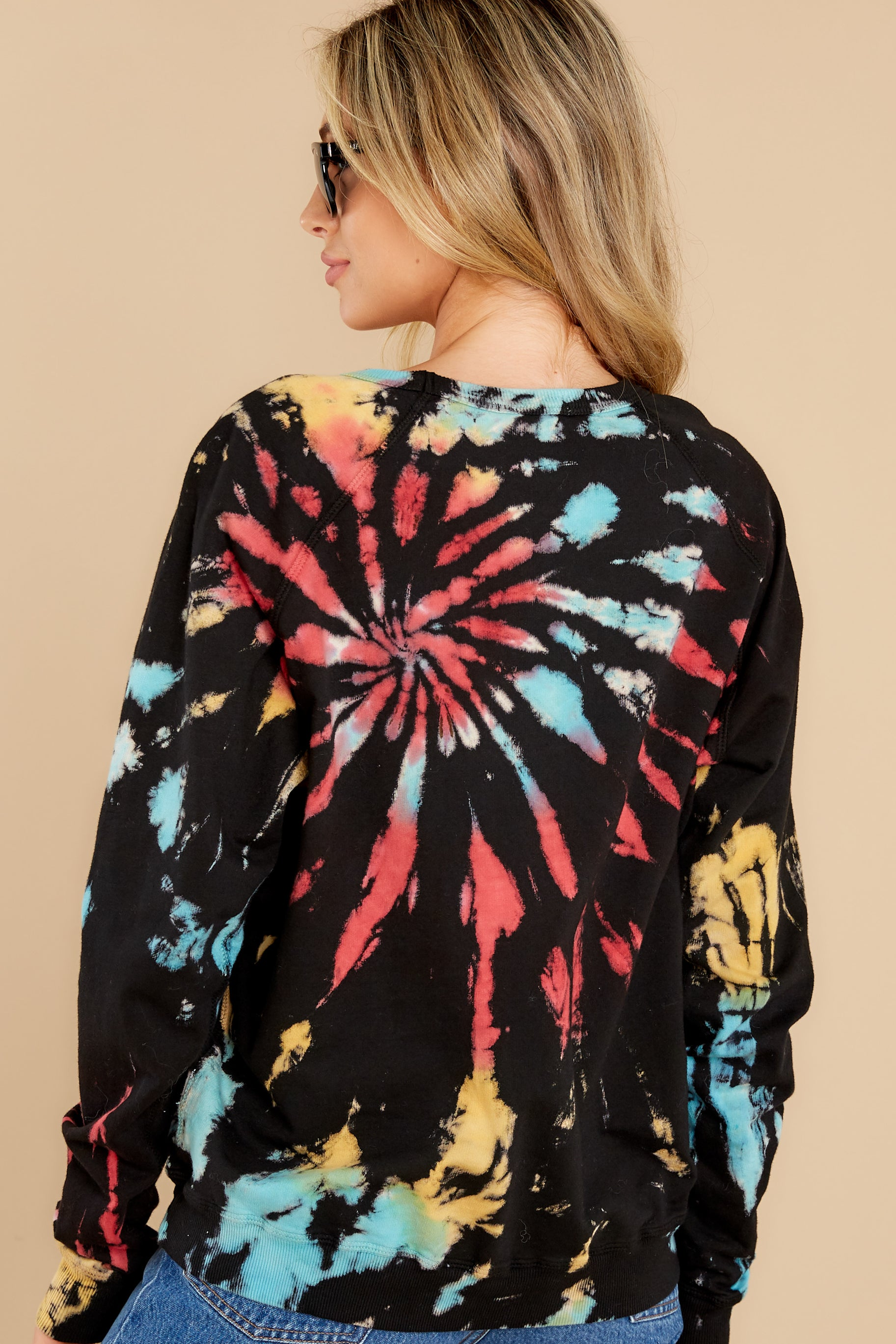 7 Step On Up Black And Red Multi Tie Dye Pullover at reddress.com
