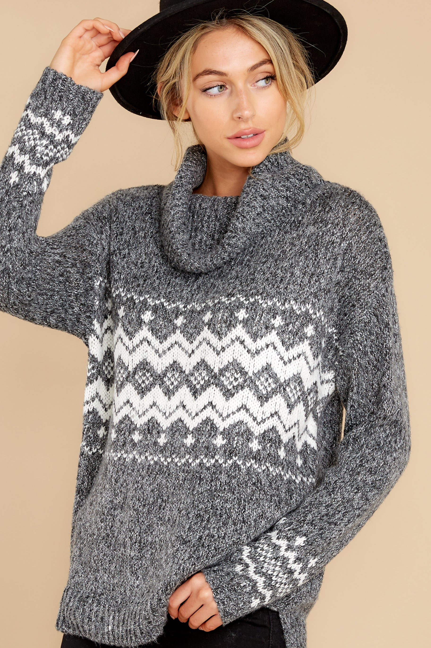 Vintage Sweaters, Retro Sweaters & Cardigan Ladies Gonna Single Out Charcoal Sweater Grey $42.00 AT vintagedancer.com