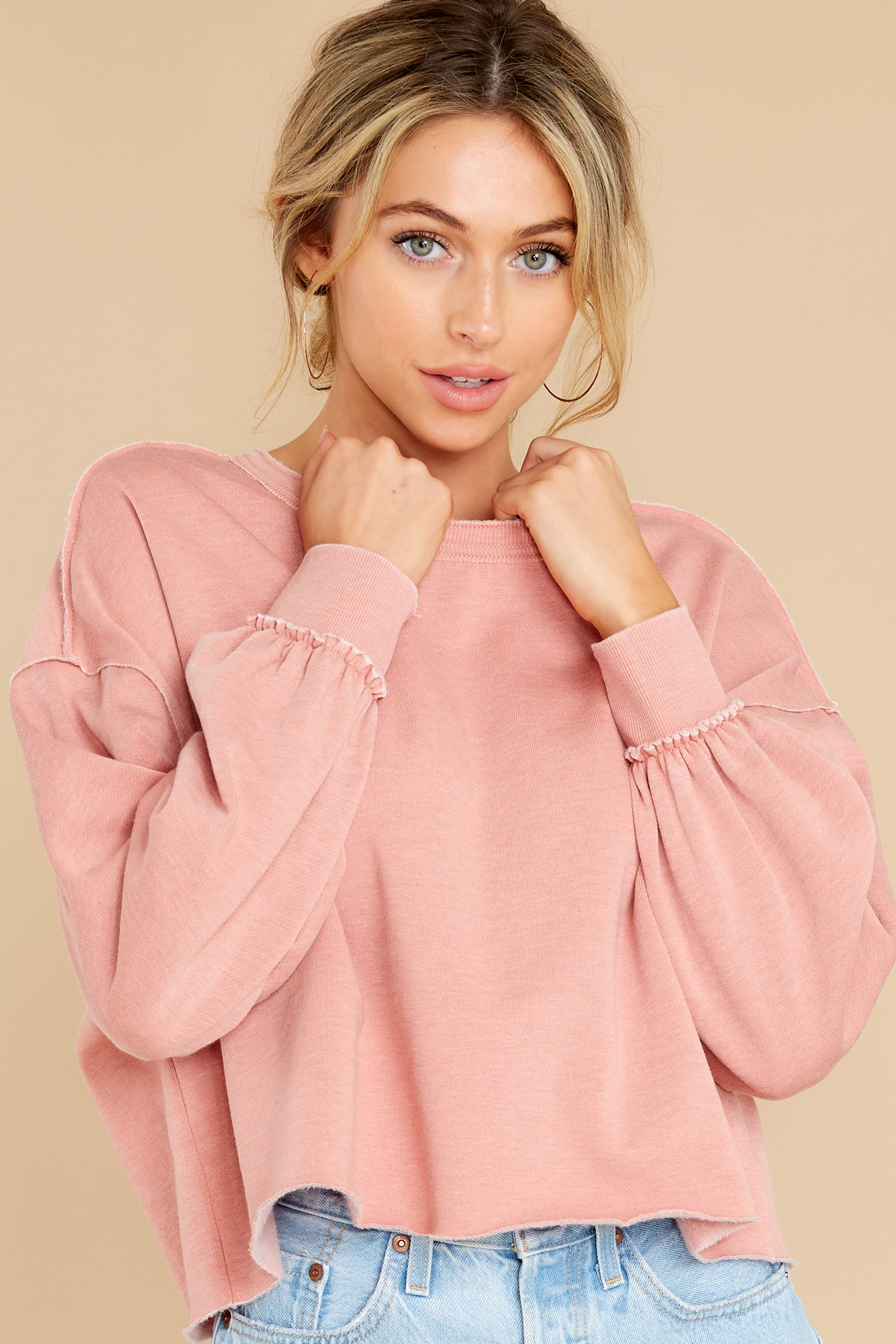 7 Tempest Petal Pink Sweatshirt at reddress.com