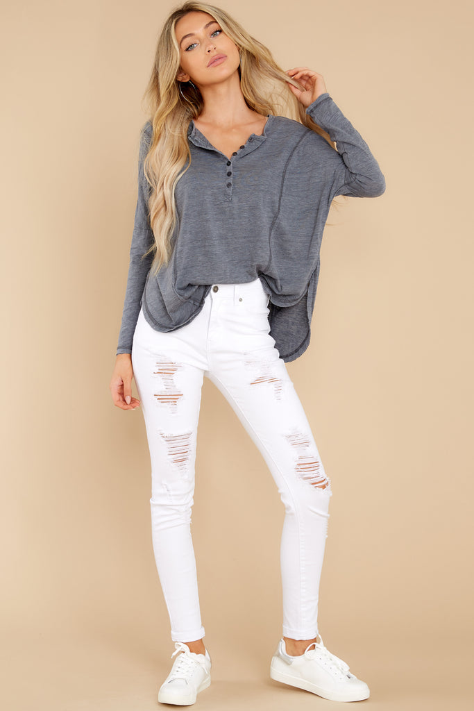 1 Told You White Distressed Skinny Jeans at reddress.com