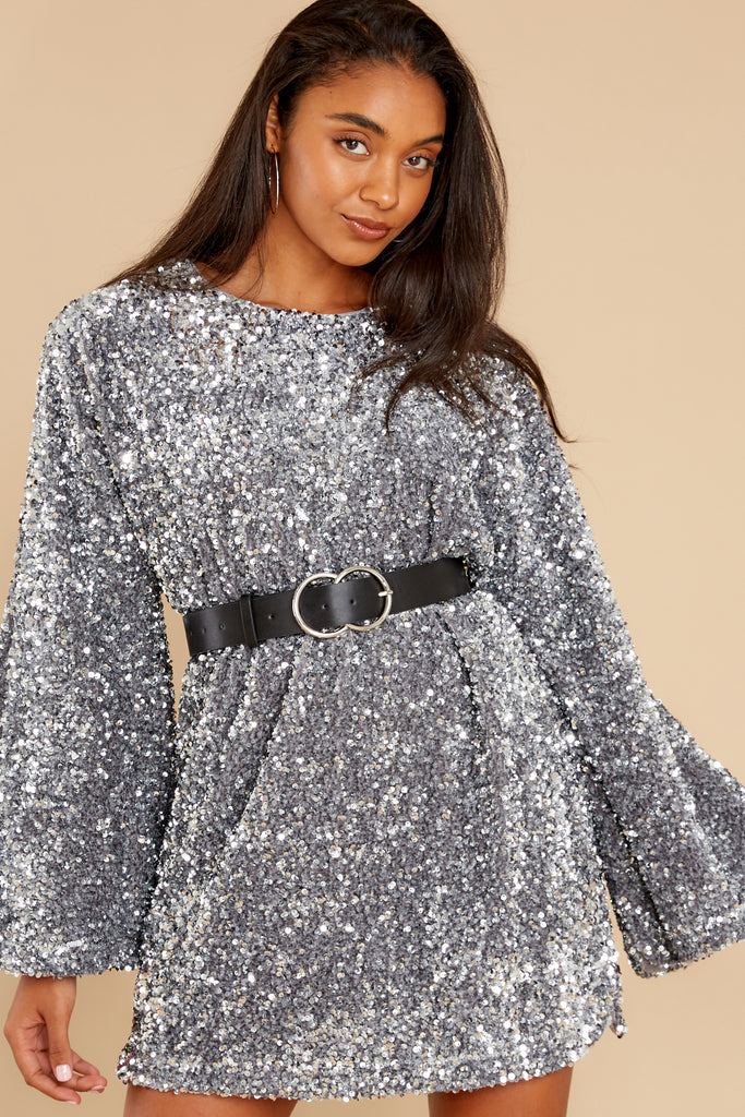 1 When He Sees Me Silver Sequin Dress at reddress.com