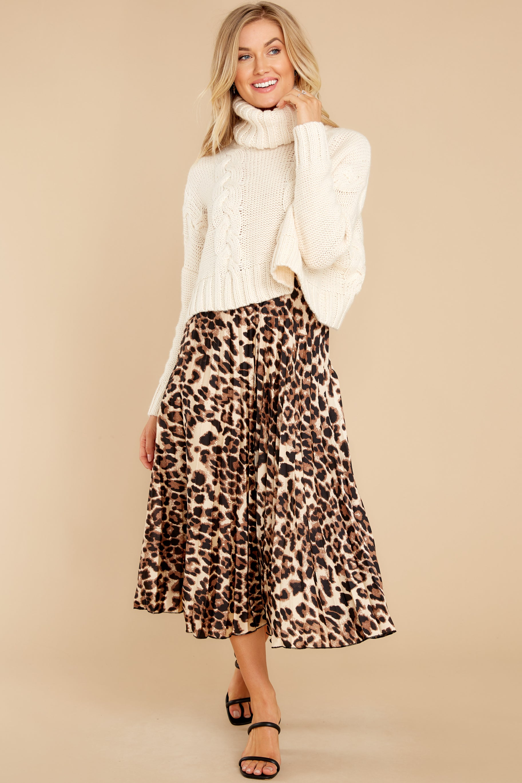 6 Act Wildly Leopard Print Midi Skirt at reddress.com