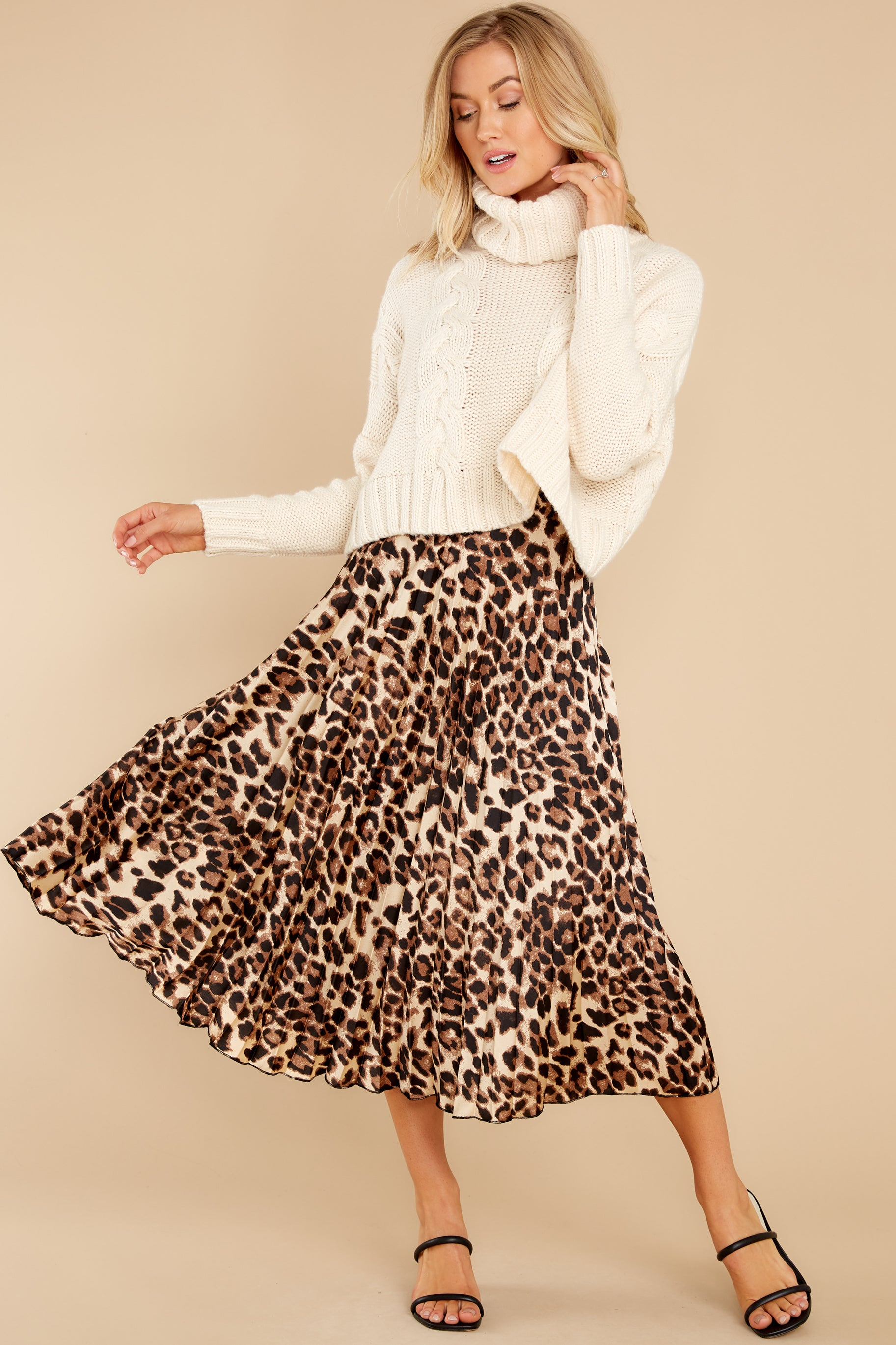 7 Act Wildly Leopard Print Midi Skirt at reddress.com