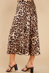 4 Act Wildly Leopard Print Midi Skirt at reddress.com