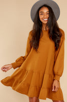 Tall Bishop Sleeves Cotton Pocketed Gathered Babydoll Round Neck Shirt Dress
