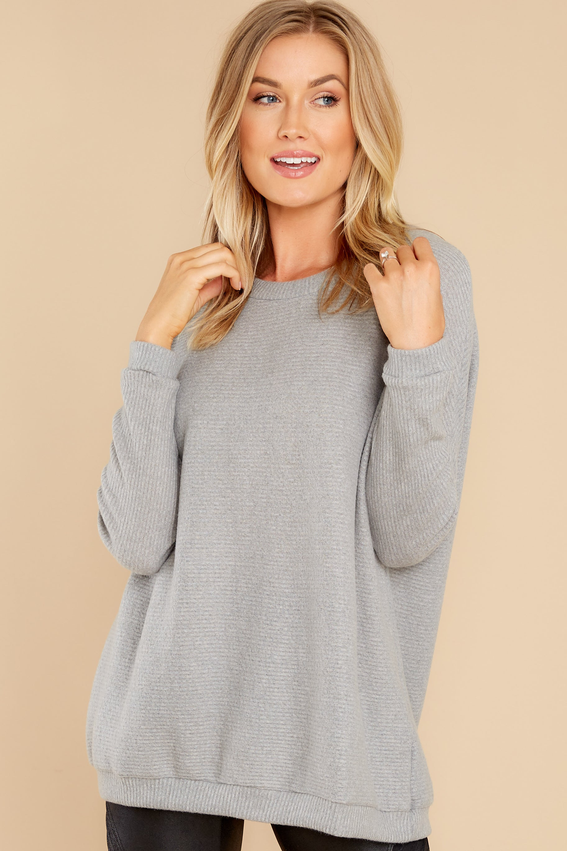 6 Down The Road Light Grey Top at reddress.com