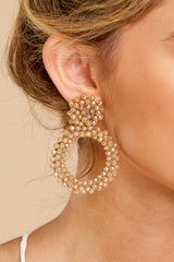 3 Multifaceted Charm Champagne Earrings at reddressboutique.com