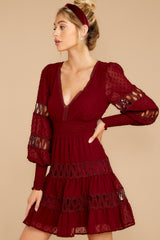 6 Of Romance And Lace Wine Dress at reddress.com