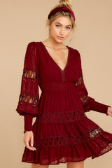 7 Of Romance And Lace Wine Dress at reddress.com