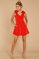Tall V-neck Pocketed Darts Hidden Back Zipper Short Princess Seams Waistline Fall Dress With a Bow(s) and Pearls