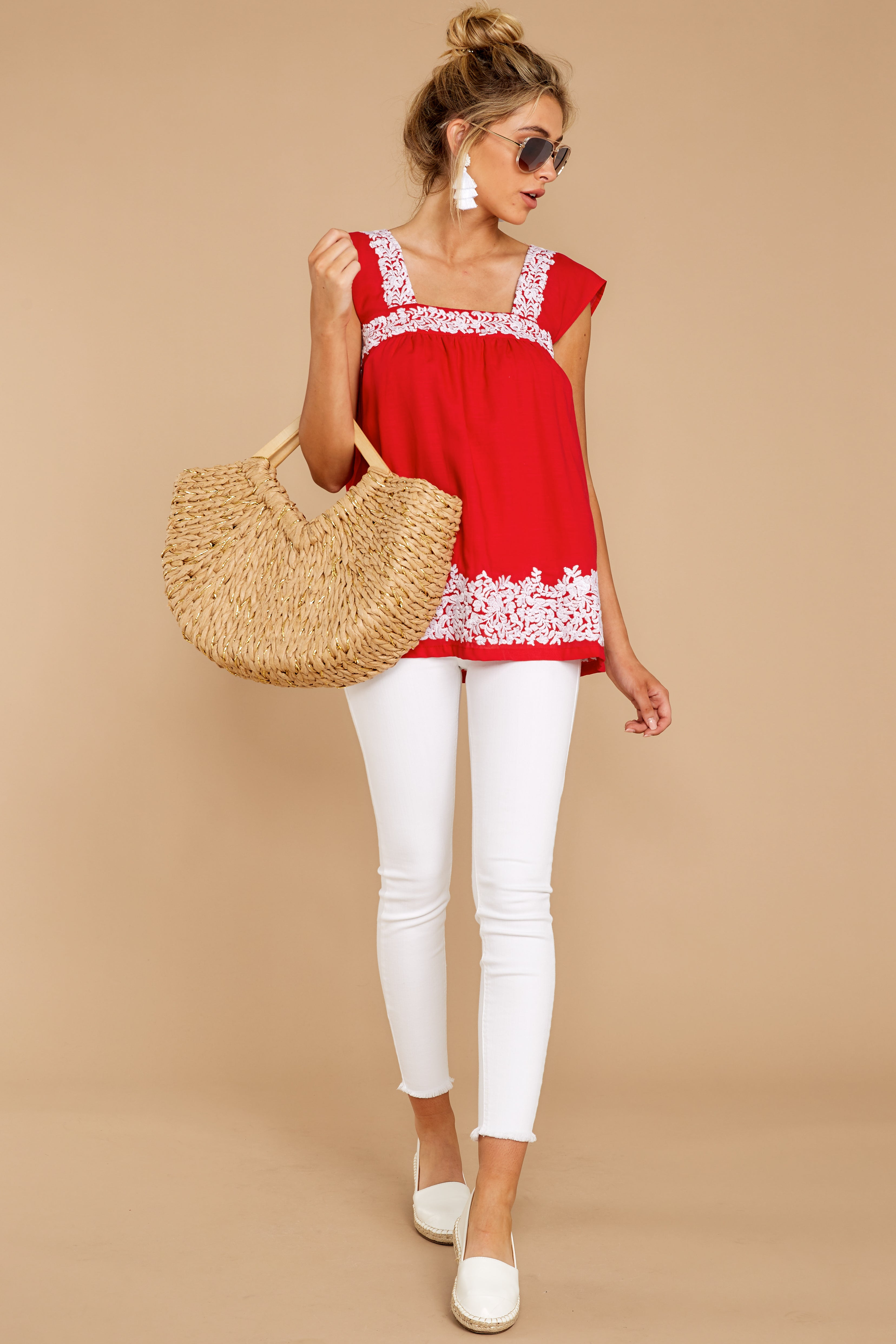 2 Familiar Feelings Red Embroidered Top at reddressboutique.com