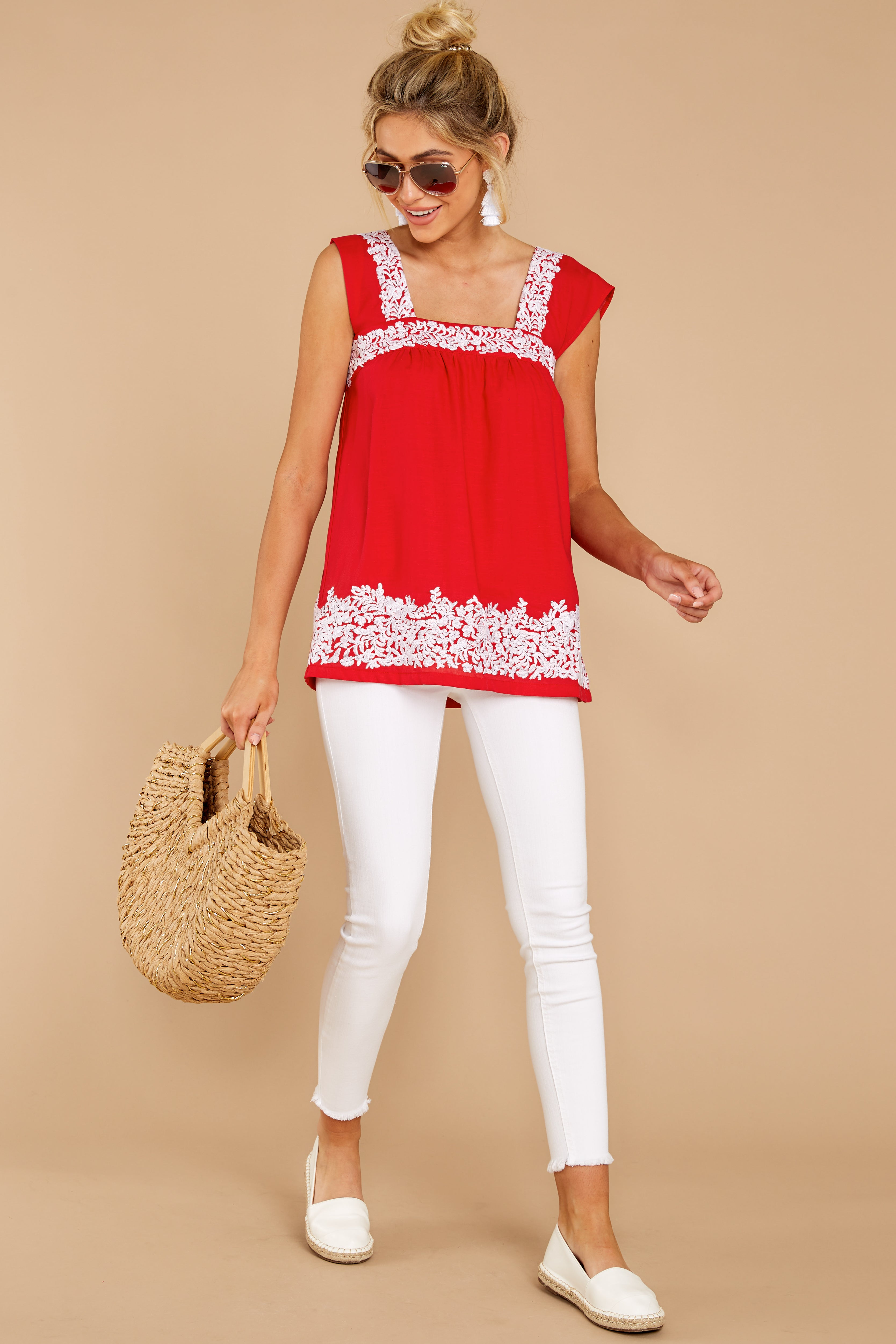 1 Familiar Feelings Red Embroidered Top at reddressboutique.com
