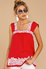 5 Familiar Feelings Red Embroidered Top at reddressboutique.com