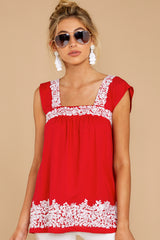 6 Familiar Feelings Red Embroidered Top at reddressboutique.com