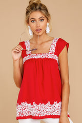 7 Familiar Feelings Red Embroidered Top at reddressboutique.com