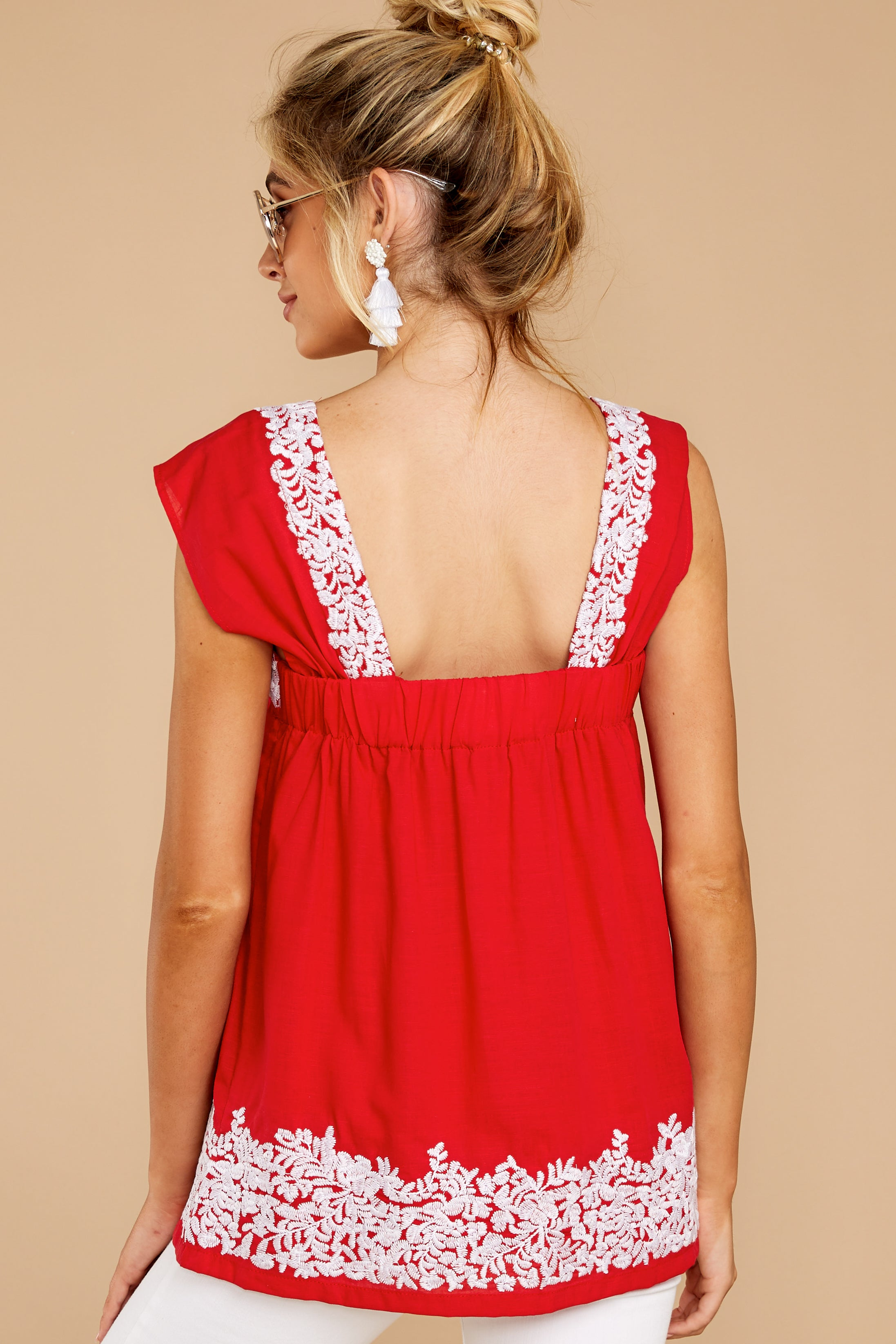 8 Familiar Feelings Red Embroidered Top at reddressboutique.com