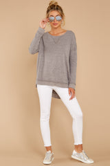 2 The Heather Grey Triblend Vacay Pullover at reddressboutique.com