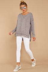 3 The Heather Grey Triblend Vacay Pullover at reddressboutique.com