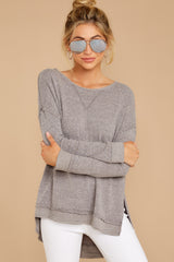 4 The Heather Grey Triblend Vacay Pullover at reddressboutique.com