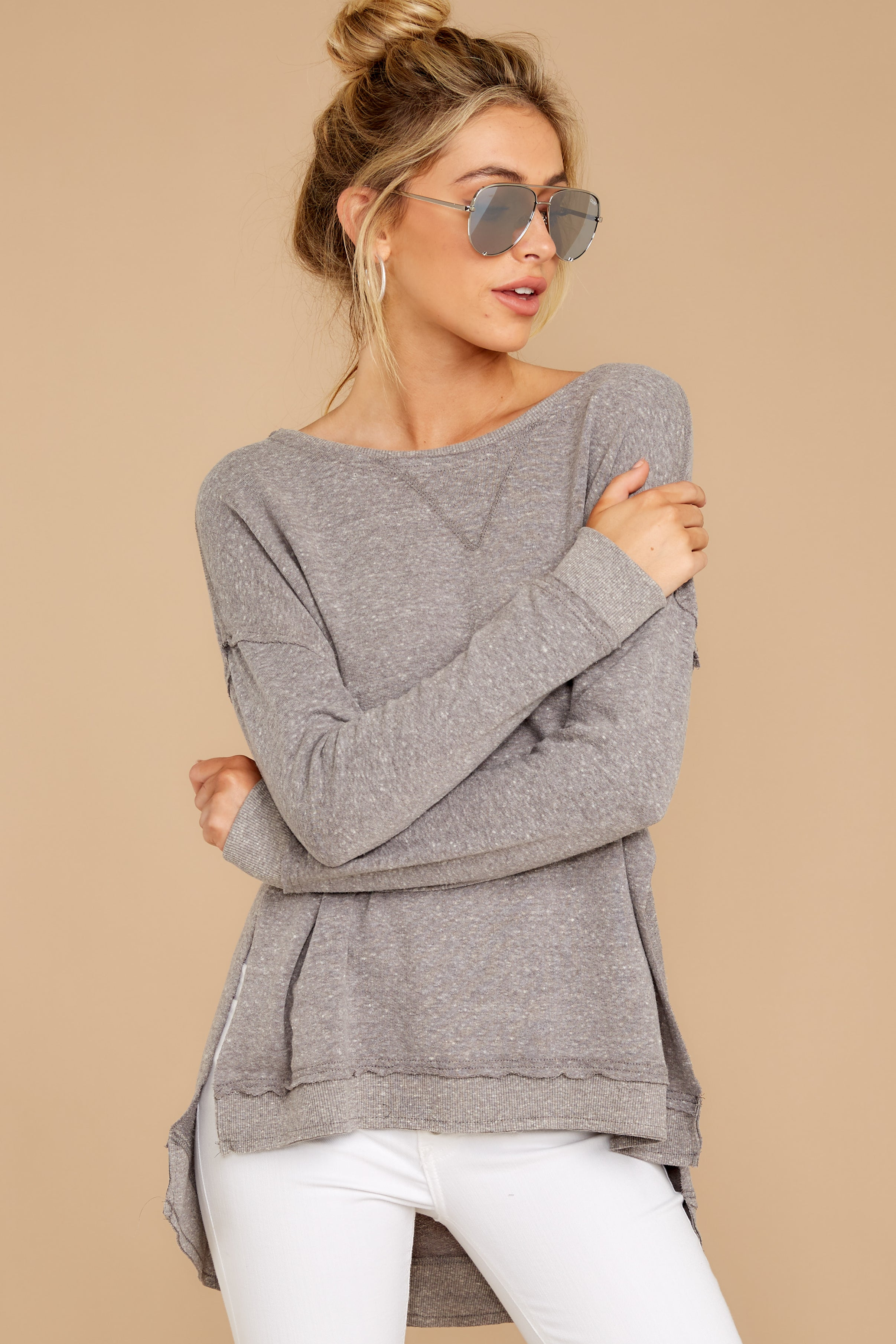 5 The Heather Grey Triblend Vacay Pullover at reddressboutique.com