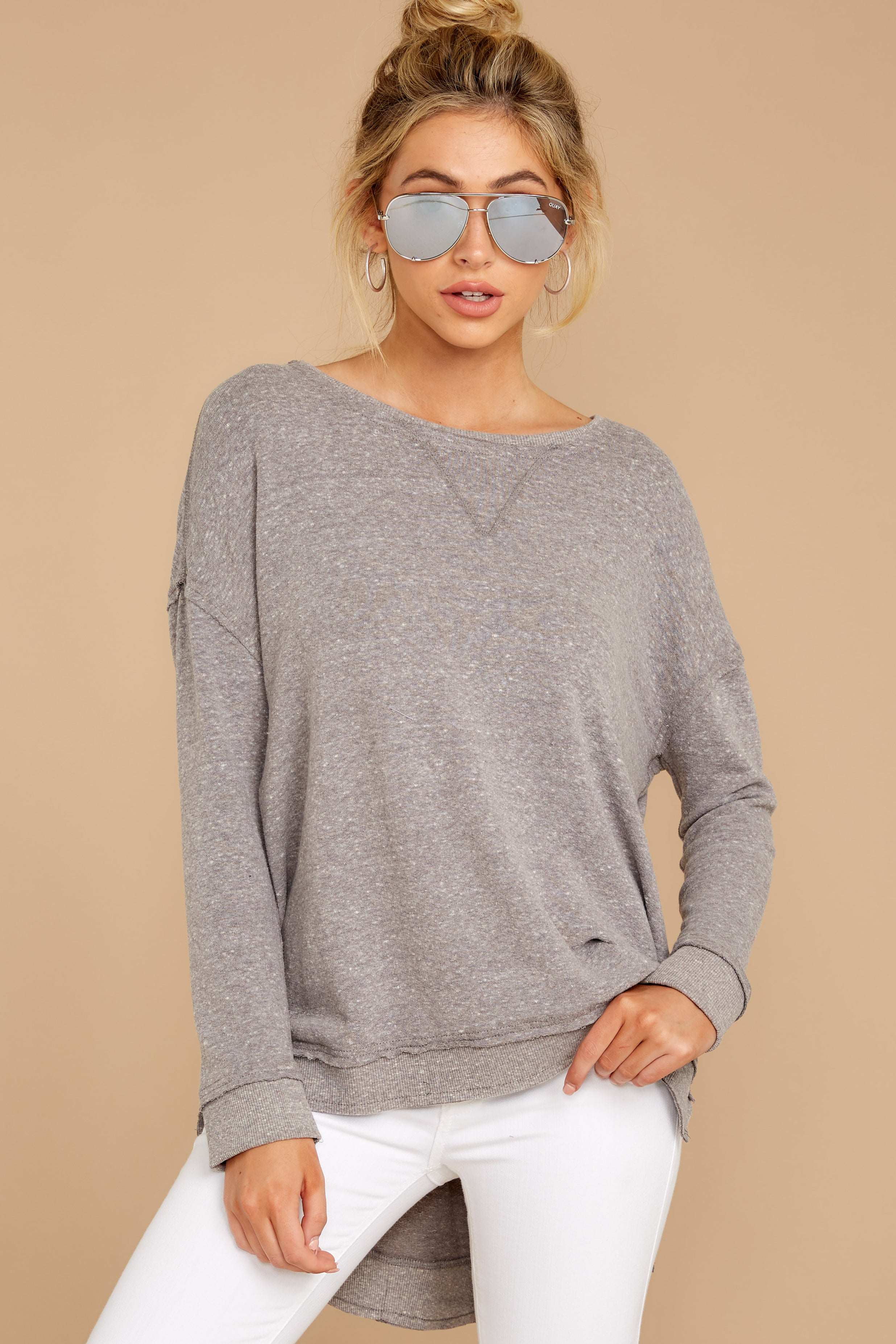 7 The Heather Grey Triblend Vacay Pullover at reddressboutique.com