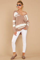 2 Anticipating Fall Light Mocha Striped Sweater at reddress.com