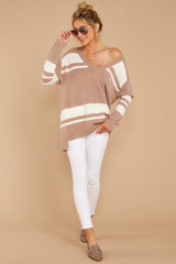 Anticipating Fall Light Mocha Striped Sweater