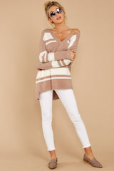 3 Anticipating Fall Light Mocha Striped Sweater at reddress.com
