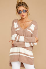 6 Anticipating Fall Light Mocha Striped Sweater at reddress.com