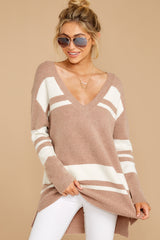 4 Anticipating Fall Light Mocha Striped Sweater at reddress.com