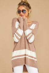 7 Anticipating Fall Light Mocha Striped Sweater at reddress.com