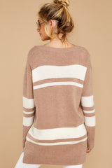 8 Anticipating Fall Light Mocha Striped Sweater at reddress.com