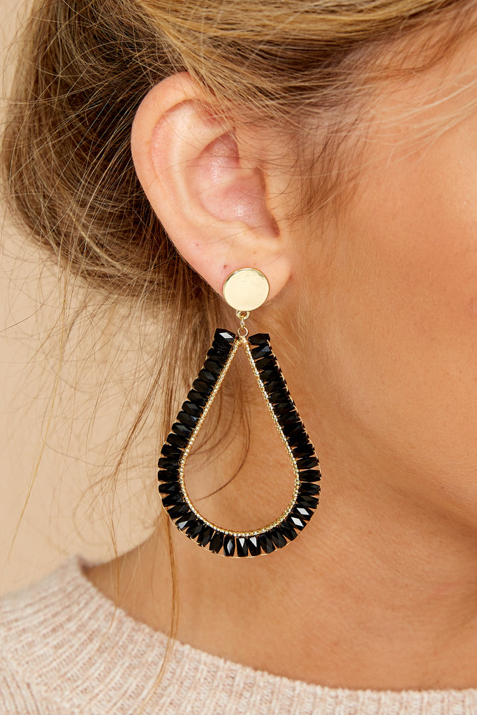 1 Fancy That Black And White Beaded Earrings at reddressboutique.com