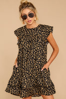 Pocketed Hidden Back Zipper Polyester Babydoll Round Neck Animal Leopard Print Dress With Ruffles