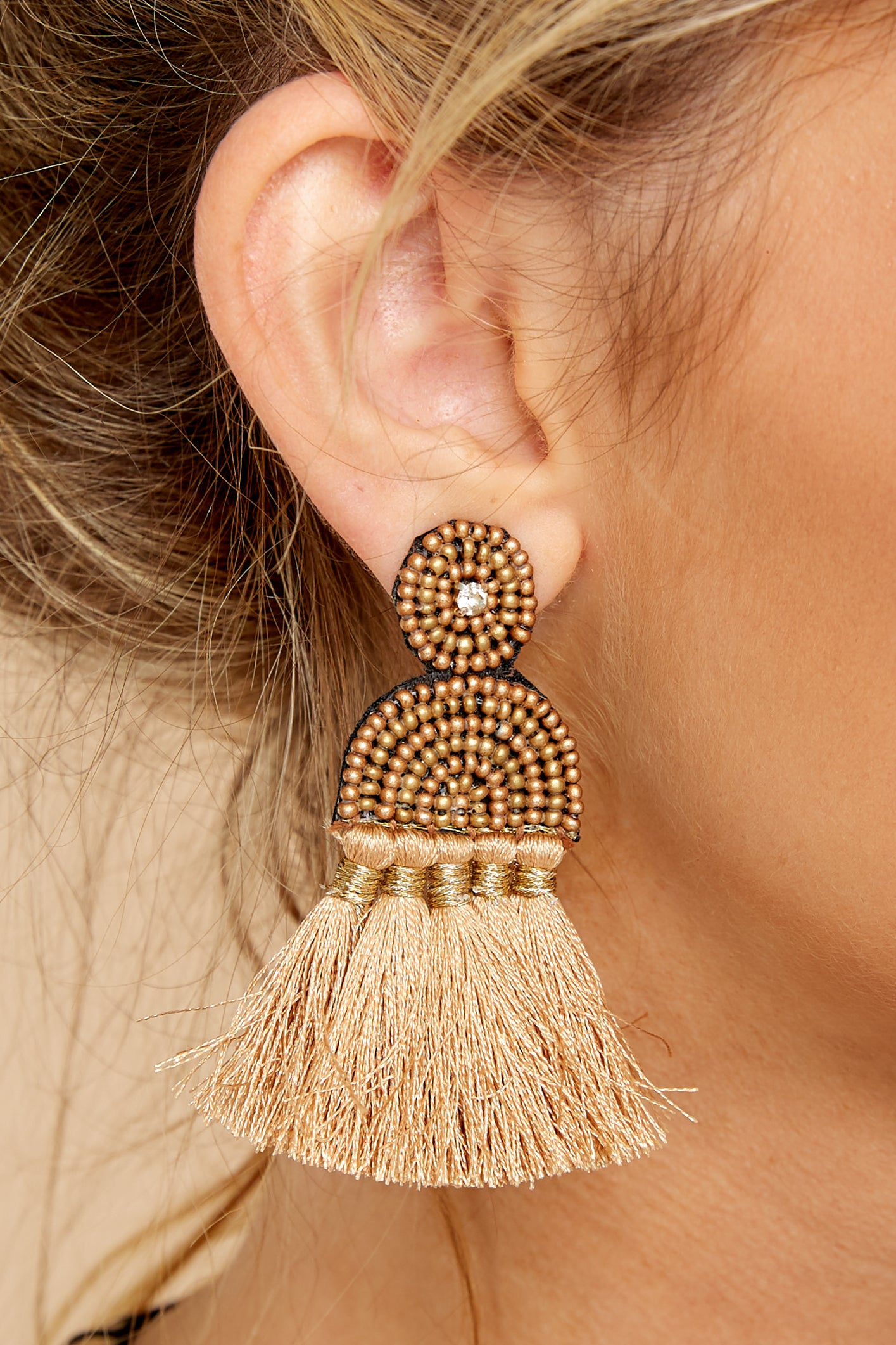 1 Call The Night Tan Earrings at reddressboutique.com