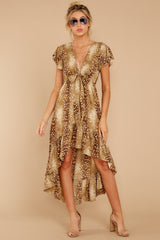 2 Still Falling Brown Multi Print Dress at reddressboutique.com